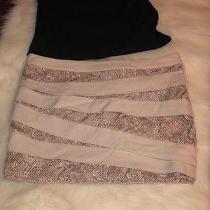 Bebe blush lace mini skirt Sz 10